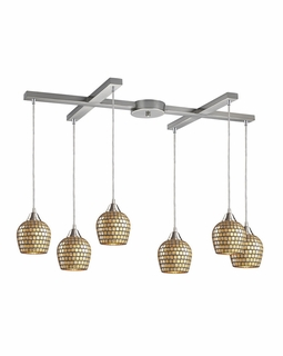 528-6GLD Elk Fusion 6 Light Mini Pendant In Satin Nickel And Gold Leaf Glass