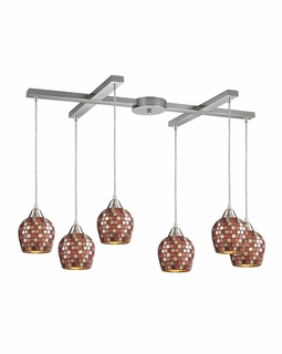 528-6MLT Elk Fusion 6 Light Mini Pendant In Satin Nickel And Multi Glass