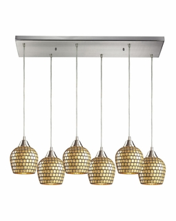 528-6RC-GLD Elk Fusion 6 Light Mini Pendant In Satin Nickel And Gold Leaf Glass