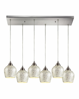 528-6RC-SLV Elk Fusion 6 Light Mini Pendant In Satin Nickel And Silver Glass