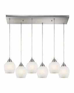 528-6RC-WHT Elk Fusion 6 Light Mini Pendant In Satin Nickel And White Glass
