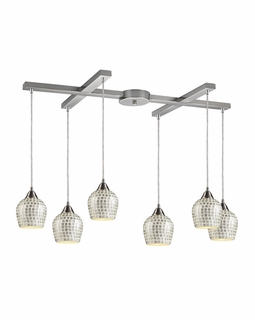 528-6SLV Elk Fusion 6 Light Mini Pendant In Satin Nickel And Silver Glass