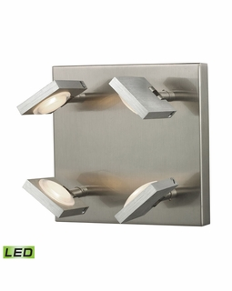 54013/4 Elk Modern Reilly 4 Light Wall Sconce In Brushed Nickel And Brushed Aluminum