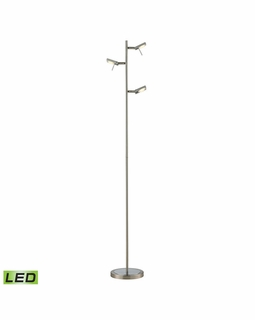 54015/3 Elk Modern Reilly 3 Light Floor Lamp In Brushed Nickel And Brushed Aluminum