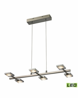 54017/6 Elk Modern Reilly 6 Light Chandelier In Brushed Nickel And Brushed Aluminum