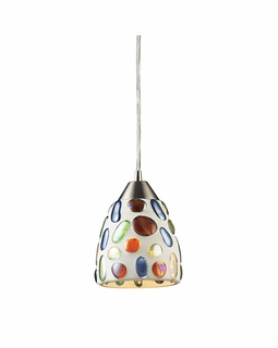 542-1 Elk Gemstones 1 Light Pendant In Satin Nickel And Sculpted Multicolor Glass