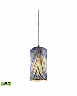 544-1MO-LED Elk Molten 1 Light LED Mini Pendant In Satin Nickel And Molten Ocean Glass