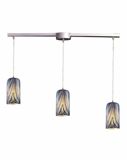 544-3L-MO Elk Molten 3 Light Mini Pendant In Satin Nickel And Molten Ocean Glass
