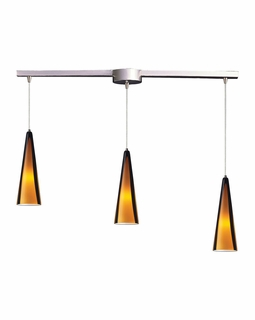 545-3L-SAH Elk Desert Winds 3 Light Mini Pendant In Satin Nickel And Sahara Glass