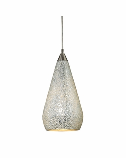 546-1SLV-CRC Elk Curvalo 1 Light Mini Pendant In Satin Nickel And Silver Crackle Glass