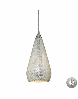 546-1SLV-CRC-LA Elk Curvalo 1 Light Mini Pendant In Satin Nickel And Silver Crackle Glass - Includes Recessed Lighting Kit