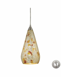 546-1SLVM-CRC-LA Elk Curvalo 1 Light Mini Pendant In Satin Nickel And Silver Multi Crackle Glass - Includes Recessed Lighting Kit