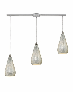 546-3L-SLV-CRC Elk Curvalo 3 Light Mini Pendant In Satin Nickel And Silver Crackle Glass
