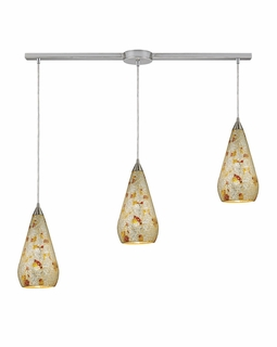 546-3L-SLVM-CRC Elk Curvalo 3 Light Mini Pendant In Satin Nickel And Silver Multi Crackle Glass
