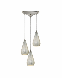 546-3SLV-CRC Elk Curvalo 3 Light Mini Pendant In Satin Nickel And Silver Crackle Glass