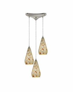 546-3SLVM-CRC Elk Curvalo 3 Light Mini Pendant In Satin Nickel And Silver Multi Crackle Glass