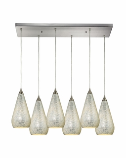 546-6RC-SLV-CRC Elk Curvalo 6 Light Mini Pendant In Satin Nickel And Silver Crackle Glass