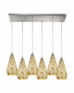 546-6RC-SLVM-CRC Elk Curvalo 6 Light Mini Pendant In Satin Nickel And Silver Mutli Crackle Glass
