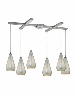 546-6SLV-CRC Elk Curvalo 6 Light Mini Pendant In Satin Nickel And Silver Crackle Glass
