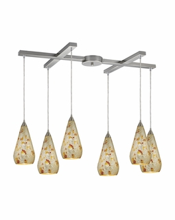 546-6SLVM-CRC Elk Curvalo 6 Light Mini Pendant In Satin Nickel And Silver Multi Crackle Glass