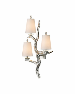 55004/3 Elk Sprig 3 Light Wall Sconce In Silver Leaf
