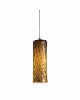 551-1MA Elk Maple 1 Light Mini Pendant In Satin Nickel And Maple Amber