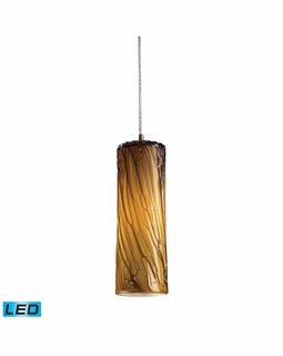 551-1MA-LED Elk Maple 1 Light LED Mini Pendant In Satin Nickel And Maple Amber