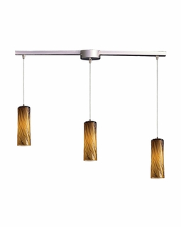 551-3L-MA Elk Maple 3 Light Mini Pendant In Satin Nickel And Maple Amber Glass