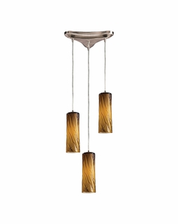 551-3MA Elk Maple 3 Light Mini Pendant In Satin Nickel And Maple Amber Glass