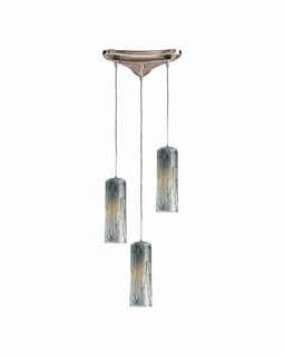 551-3MD Elk Maple 3 Light Mini Pendant In Satin Nickel And Maple Dusk Glass
