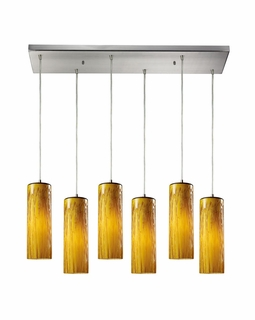 551-6RC-MA Elk Maple 6 Light Mini Pendant In Satin Nickel And Maple Amber