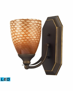 570-1B-C-LED Elk Bath And Spa 1 Light LED Vanity In Aged Bronze And Cocoa Glass