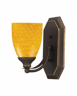570-1B-CN Elk Bath And Spa 1 Light Vanity In Aged Bronze And Canary Glass