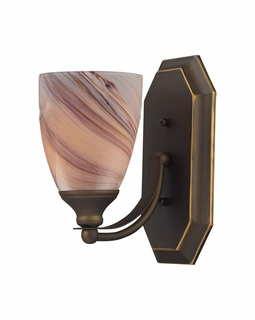570-1B-CR Elk Bath And Spa 1 Light Vanity In Aged Bronze And Creme Glass