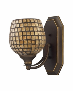 570-1B-GLD Elk Bath And Spa 1 Light Vanity In Aged Bronze And Gold Leaf Glass