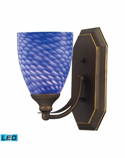 570-1B-S-LED Elk Bath And Spa 1 Light LED Vanity In Aged Bronze And Sapphire Glass