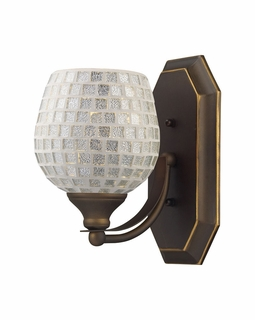 570-1B-SLV Elk Bath And Spa 1 Light Vanity In Aged Bronze And Silver Glass