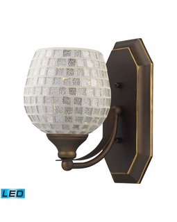 570-1B-SLV-LED Elk Bath And Spa 1 Light LED Vanity In Aged Bronze And Silver Glass