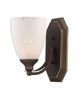 570-1B-SW Elk Bath And Spa 1 Light Vanity In Aged Bronze And Snow White Glass