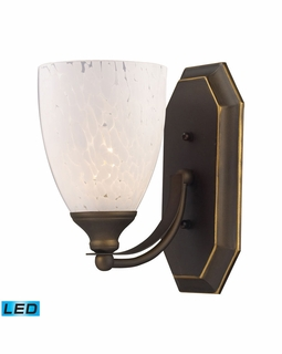 570-1B-SW-LED Elk Bath And Spa 1 Light LED Vanity In Aged Bronze And Snow White Glass
