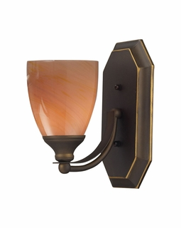 570-1B-SY Elk Bath And Spa 1 Light Vanity In Aged Bronze And Sandy Glass