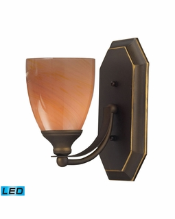 570-1B-SY-LED Elk Bath And Spa 1 Light LED Vanity In Aged Bronze And Sandy Glass
