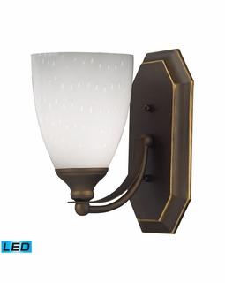 570-1B-WH-LED Elk Bath And Spa 1 Light LED Vanity In Aged Bronze And Simple White Glass