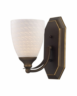 570-1B-WS Elk Bath And Spa 1 Light Vanity In Aged Bronze And White Swirl Glass