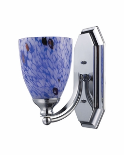 570-1C-BL Elk Bath And Spa 1 Light Vanity In Polished Chrome And Starburst Blue Glass