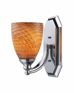 570-1C-C Elk Bath And Spa 1 Light Vanity In Polished Chrome And Cocoa Glass