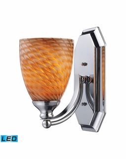 570-1C-C-LED Elk Bath And Spa 1 Light LED Vanity In Polished Chrome And Cocoa Glass