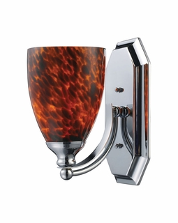 570-1C-ES Elk Bath And Spa 1 Light Vanity In Polished Chrome And Espresso Glass