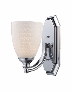 570-1C-WS Elk Bath And Spa 1 Light Vanity In Polished Chrome And White Swirl Glass