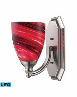 570-1N-A-LED Elk Bath And Spa 1 Light LED Vanity In Satin Nickel And Autumn Glass